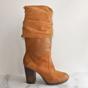 Vince Camuto Chapin boots cognac foldover leather